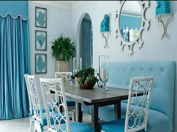 rèm cửa cho tường màu xanh
